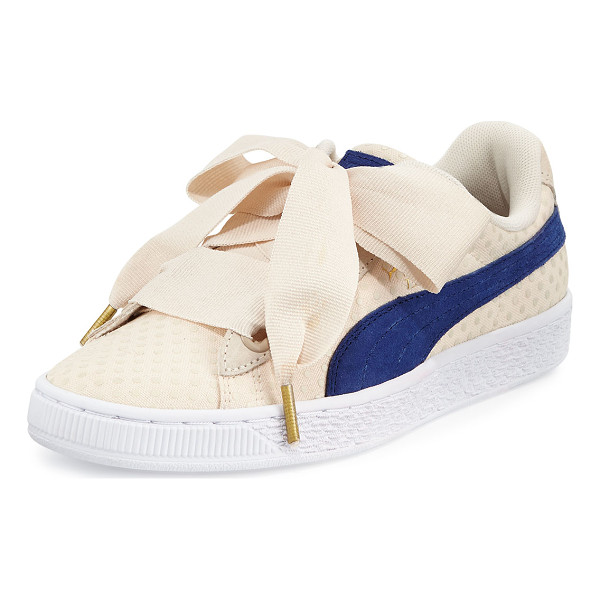 "PUMA Basket Heart Platform Sneaker - Puma polka-dot canvas low-top sneaker. 1.3"" flat platform..."