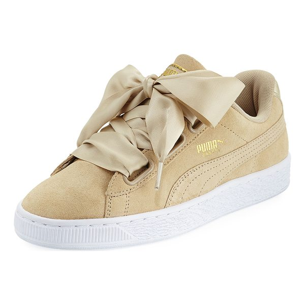 "PUMA Basket Heart Safari Suede Sneaker - Puma suede sneaker with leather trim. 1"" flat platform..."