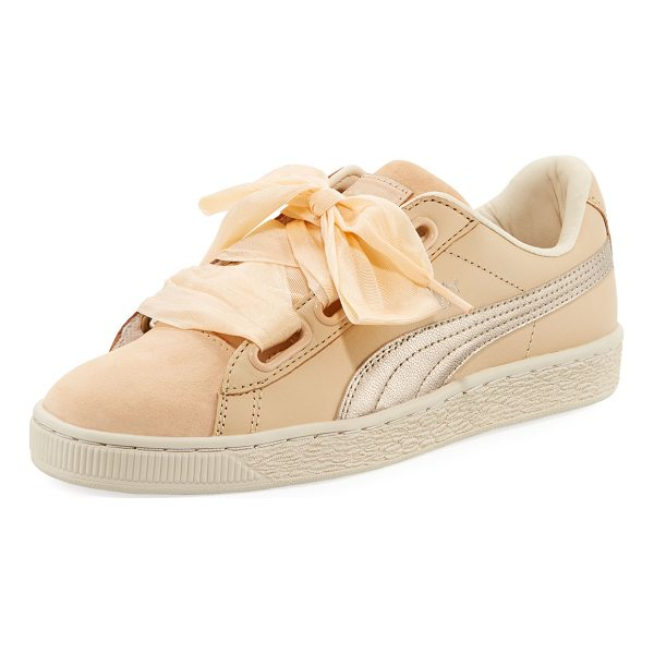 PUMA Basket Heart Up Mixed Sneaker - Puma sneaker in mixed suede and leather. Metallic signature...