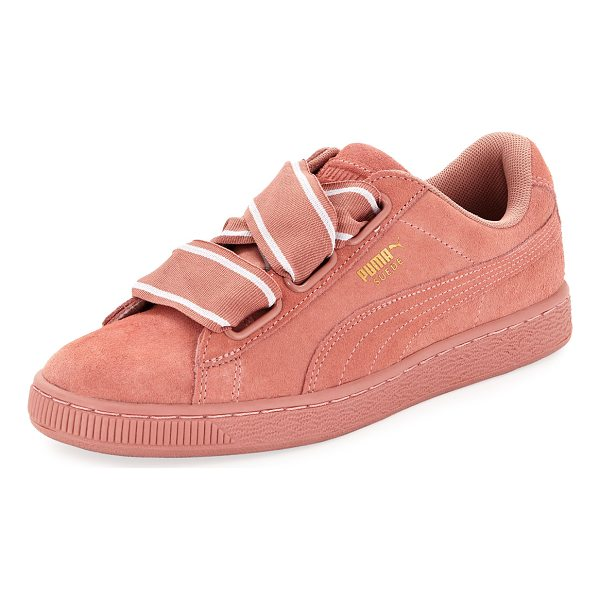 PUMA Heart Suede Satin II Sneaker - Puma suede sneaker with signature Formstrip at sides. Flat...