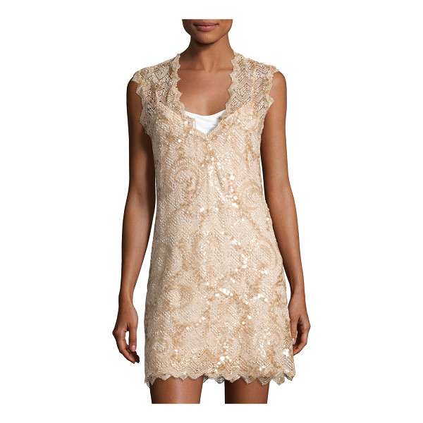 "QUEEN & PAWN Saria Sequined Lace Coverup Dress - Queen & Pawn ""Saria"" coverup dress in sequined lace with"
