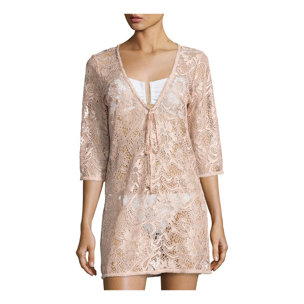 "QUEEN & PAWN Venus Sheer Lace Coverup Tunic - Queen & Pawn ""Venus"" coverup dress/tunic in lace with a"