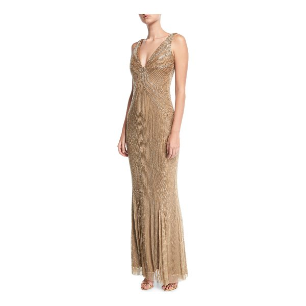 RACHEL GILBERT Beaded Illusion V-Neck Gown - Rachel Gilbert hand-sequined tulle illusion gown. V...