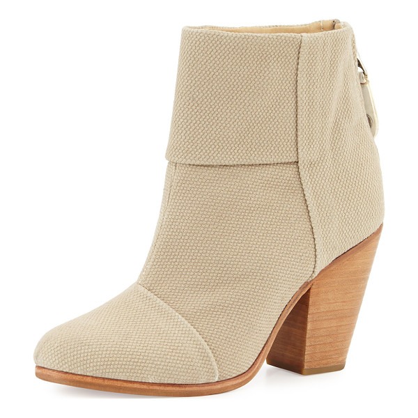 "RAG & BONE Classic Newbury Canvas Bootie - Rag & Bone canvas bootie. 3.5"" chunky heel; 4.5""H shaft;..."