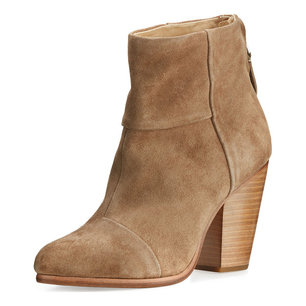 "RAG & BONE Classic Newbury Suede Ankle Boot - Rag & Bone boot in paneled Italian cowhide leather. 3.5""..."