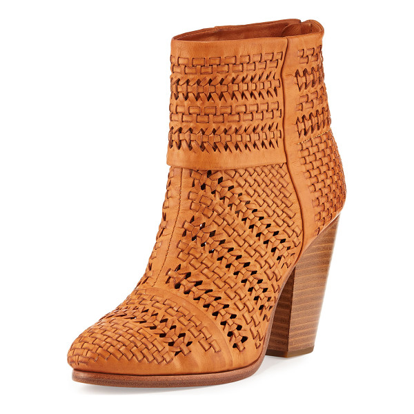 "RAG & BONE Classic Newbury Woven Leather Bootie - Rag & Bone woven Italian leather bootie. 3.8"" stacked block..."
