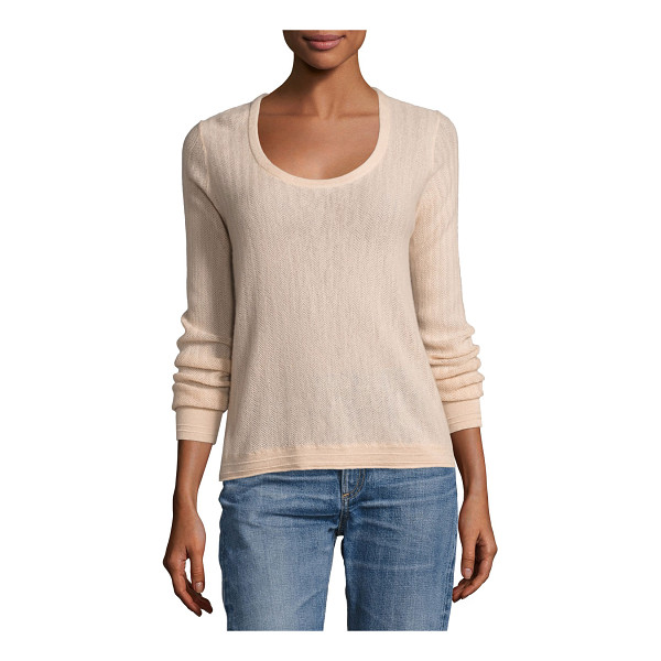 "RAG & BONE Estelle Herringbone Cashmere Scoop-Neck Sweater - Rag & Bone ""Estelle"" herringbone ribbed sweater. Finely..."