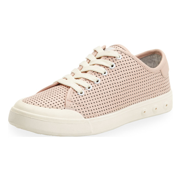 "RAG & BONE Standard Issue Perforated Low-Top Sneaker - Rag & Bone perforated leather sneaker. 1"" flat heel...."
