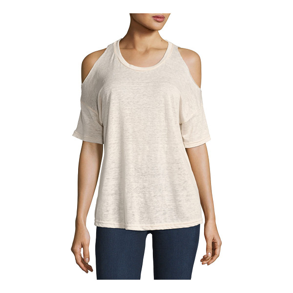 """RAILS Ricky Cold-Shoulder Crew Neck Tee - Rails """"Ricky"""" tee in heathered knit. Crew neckline...."""