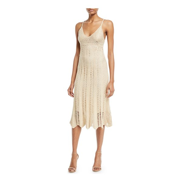 RALPH LAUREN COLLECTION Sleeveless V-Neck Crochet Camisole Midi Dress - Ralph Lauren Collection crochet camisole dress. V neckline....