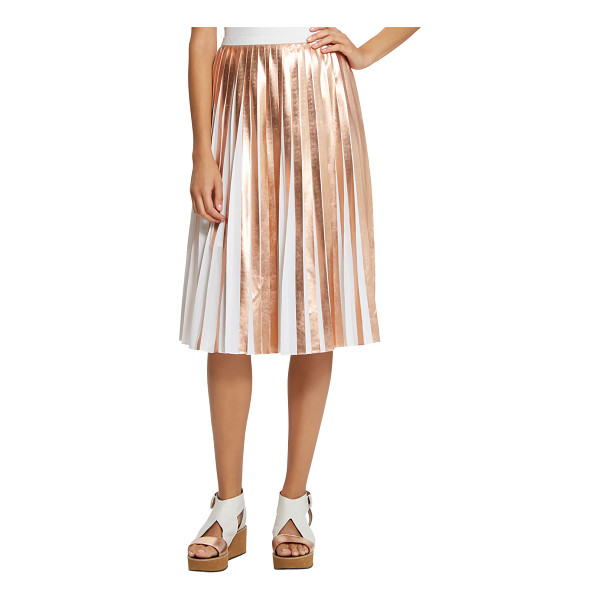 "RAOUL Foil Pleated Skirt - Raoul metallic foil-pleated skirt. Approx. length: 28""L..."
