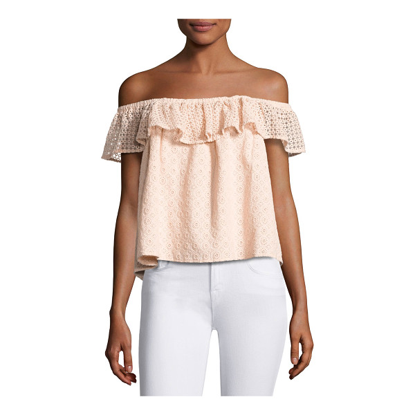"REBECCA MINKOFF Celestine Off-the-Shoulder Lace Top - Rebecca Minkoff ""Celestine"" top with lace detail and ruffle..."