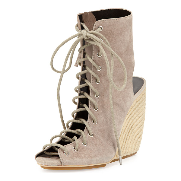 """REBECCA MINKOFF Elle Suede Lace-Up Wedge Sandal - Rebecca Minkoff kid suede sandal. 4"""" braided-jute wedge..."""