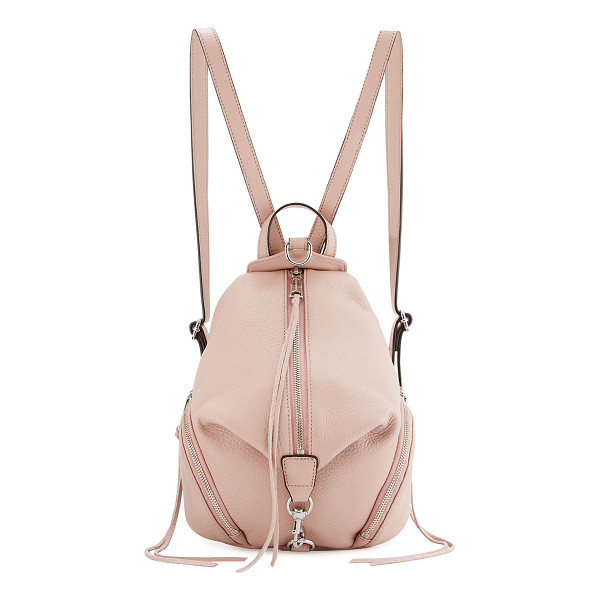 REBECCA MINKOFF Julian Medium Leather Backpack - Rebecca Minkoff pebbled leather backpack. Silvertone...