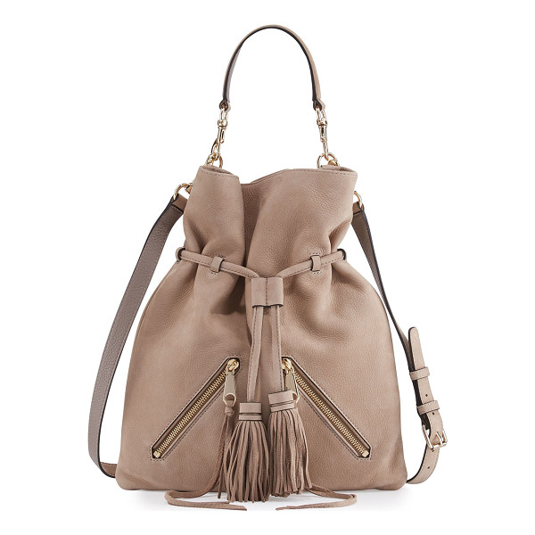 REBECCA MINKOFF Large Moto Drawstring Crossbody Bag - Rebecca Minkoff nubuck leather crossbody bag. Light golden