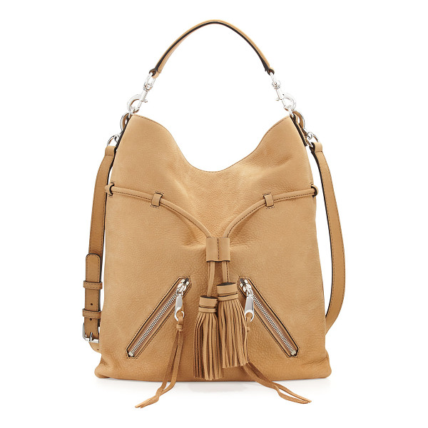 REBECCA MINKOFF Large Moto Drawstring Crossbody Bag - Rebecca Minkoff nubuck leather crossbody bag. Silvertone