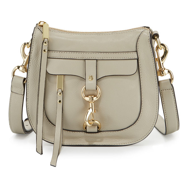REBECCA MINKOFF Leather Dog Clip Saddle Bag - Rebecca Minkoff pebbled leather saddle bag with golden...