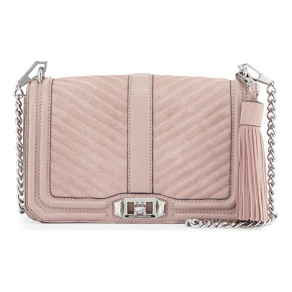 REBECCA MINKOFF Love quilted turn-lock crossbody bag - Rebecca Minkoff quilted suede crossbody bag with leather...