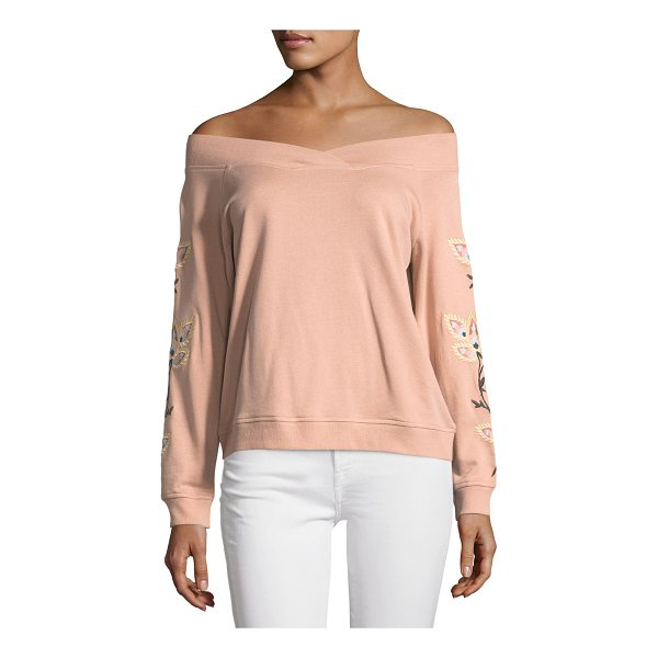 """REBECCA MINKOFF Macey Off-the-Shoulder Embroidered Sweatshirt - Rebecca Minkoff """"Macey"""" sweatshirt with embroidery at..."""