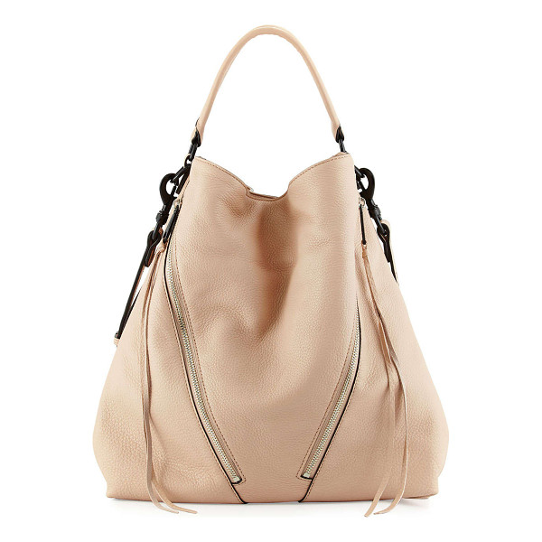 REBECCA MINKOFF Moto leather hobo bag - Rebecca Minkoff grained leather moto hobo bag. Matte black...