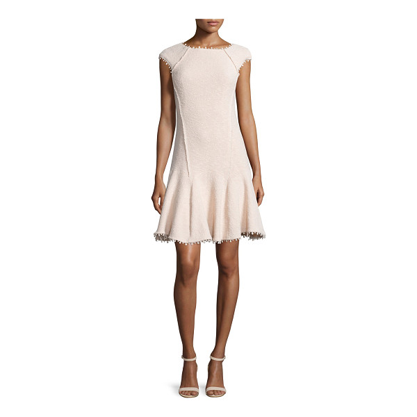 REBECCA TAYLOR Cap-sleeve boucle fit-and-flare dress - Rebecca Taylor boucle dress with exterior seaming. Bateau...