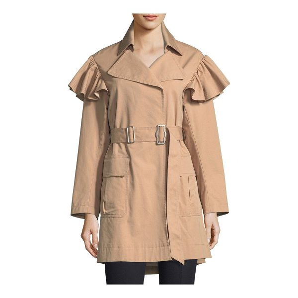 REBECCA TAYLOR Cotton-Faille Belted Trench Coat - Rebecca Taylor trench coat in cotton-faille. Spread collar;...