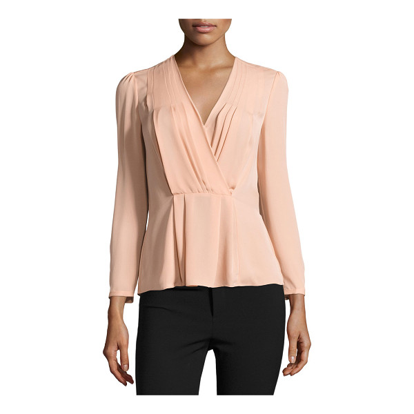 "REBECCA TAYLOR Long-Sleeve Georgette Wrap Top - Rebecca Taylor georgette top. Approx. length: 14""L from..."