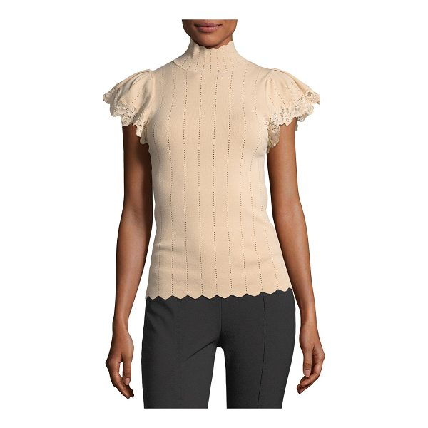 REBECCA TAYLOR Short-Sleeve Pointelle Scalloped Lace Top - Rebecca Taylor pointelle top with scalloped edges and lace...