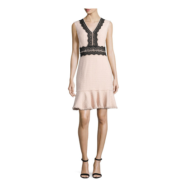 REBECCA TAYLOR Tweed Contrast-Lace Sleeveless Dress - Rebecca Taylor tweed dress with contrast lace trim and...