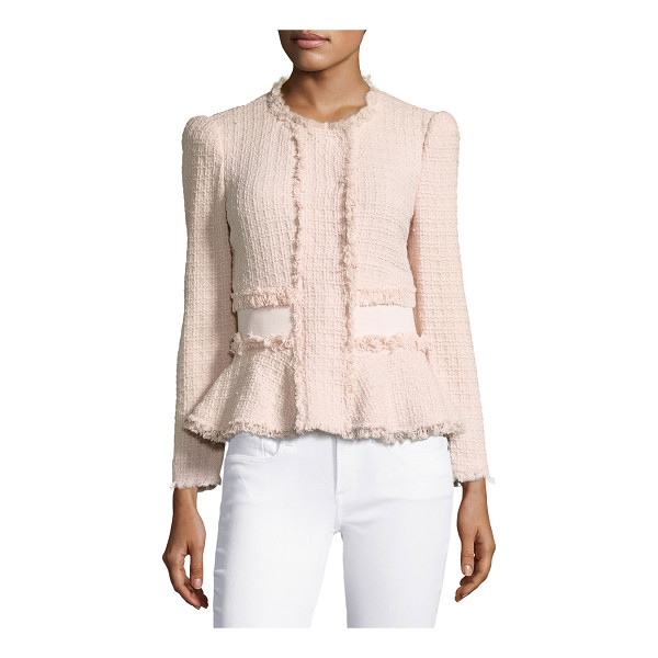 REBECCA TAYLOR Tweed Fringe-Trim Peplum Jacket - Rebecca Taylor jacket in tweed with fringe trim. Round,...