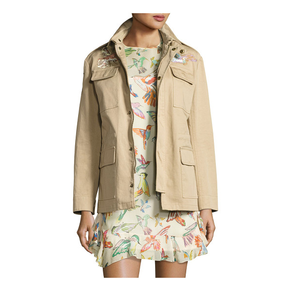 RED VALENTINO Embroidered Military Jacket - RED Valentino military jacket with colorful hummingbird...