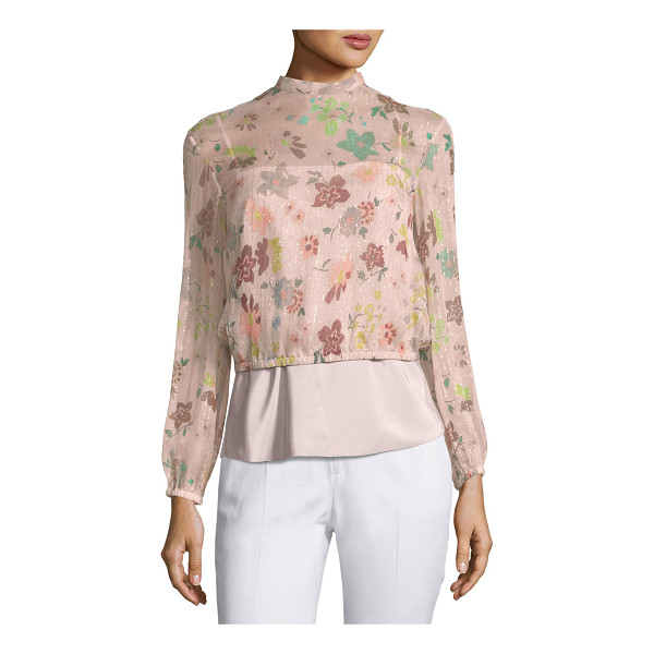 RED VALENTINO Long-Sleeve Sheer Floral-Print Lurex® Combo Blouse - REDValentino combo blouse features sheer floral-print,...