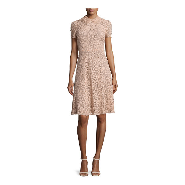 RED VALENTINO Short-Sleeve Macrame Dress - RED Valentino macrame dress. Peter Pan collar. Short...