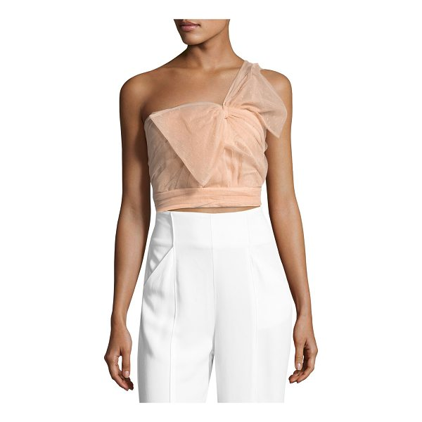 RED VALENTINO One-Shoulder Bow Faille Top - REDValentino top with pleated point d'esprit faille overlay...