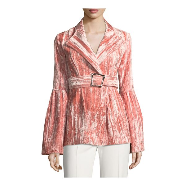 """REJINA PYO Claire One-Button Belted Bonded Velvet Jacket - Rejina Pyo """"Claire"""" blazer in bonded velvet. Shawl lapels;..."""
