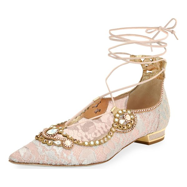 RENE CAOVILLA Embellished Lace Ankle-Tie Flat - EXCLUSIVELY AT NEIMAN MARCUS Rene Caovilla lace covered...