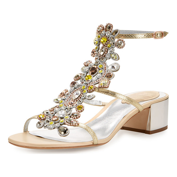 RENE CAOVILLA Jeweled Snakeskin T-Strap Sandal - ONLYATNM Only Here. Only Ours. Exclusively for You. Rene