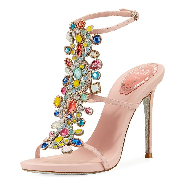 RENE CAOVILLA Multi-Embellished 105mm Sandal - EXCLUSIVELY AT NEIMAN MARCUS Rene Caovilla calf leather...