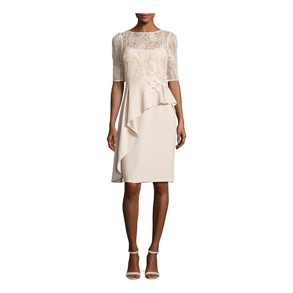 RICKIE FREEMAN FOR TERI JON Floral Embellished 3/4-Sleeve Peplum Cocktail Dress - Rickie Freeman for Teri Jon cocktail dress with lace...
