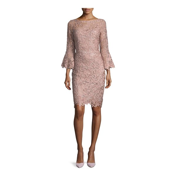 RICKIE FREEMAN FOR TERI JON Lace Trumpet-Sleeve Sheath Cocktail Dress - EXCLUSIVELY AT NEIMAN MARCUS Rickie Freeman for Teri Jon...