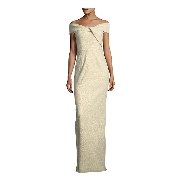 RICKIE FREEMAN FOR TERI JON Off-the-Shoulder Metallic Jacquard Gown - EXCLUSIVELY AT NEIMAN MARCUS Rickie Freeman for Teri Jon...
