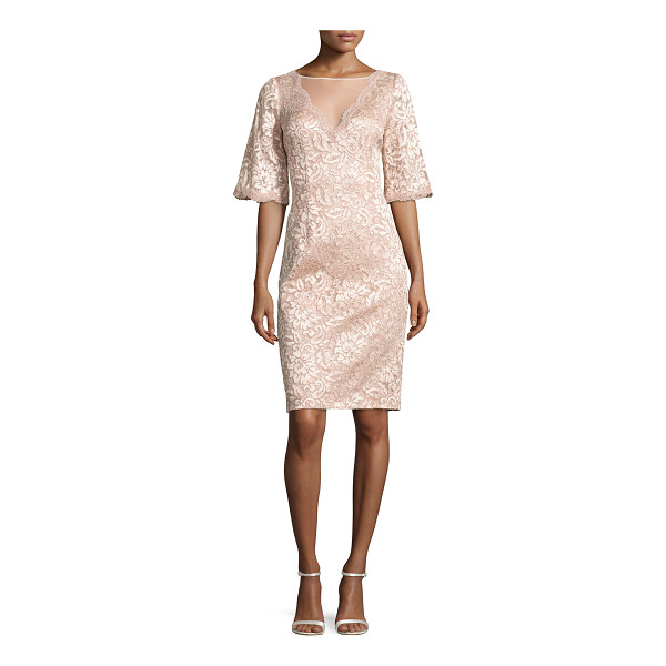 RICKIE FREEMAN FOR TERI JON Short-Sleeve Floral Lace Cocktail Dress - EXCLUSIVELY AT NEIMAN MARCUS Rickie Freeman for Teri Jon...