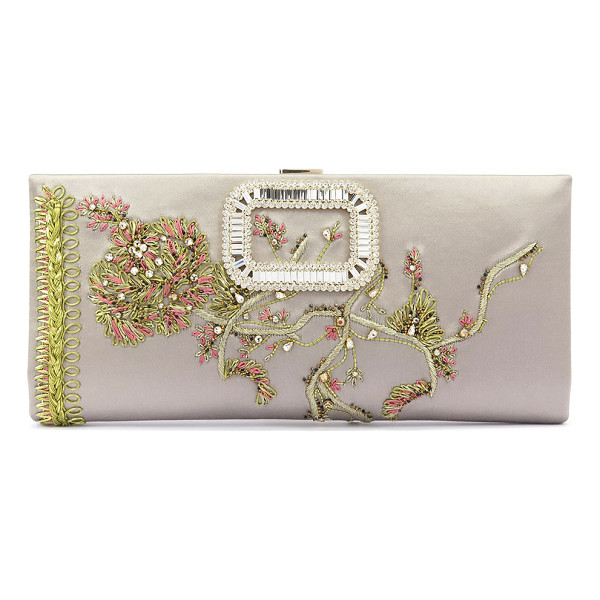ROGER VIVIER Pilgrim Crystal Floral Evening Clutch Bag - Roger Vivier floral-embroidered satin clutch bag with...