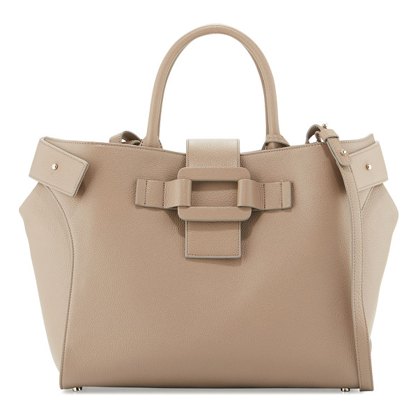 ROGER VIVIER Pilgrim de Jour Medium Tote Bag - Roger Vivier pebbled calf leather tote bag. Rolled top