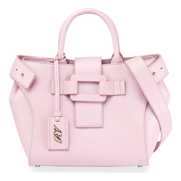 ROGER VIVIER Pilgrim de Jour Small Tote Bag - Roger Vivier pebbled calf leather tote bag. Rolled top...