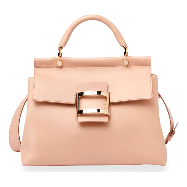 ROGER VIVIER Viv Cabas Medium Top-Handle Satchel Bag - Roger Vivier smooth leather satchel bag. Golden hardware.