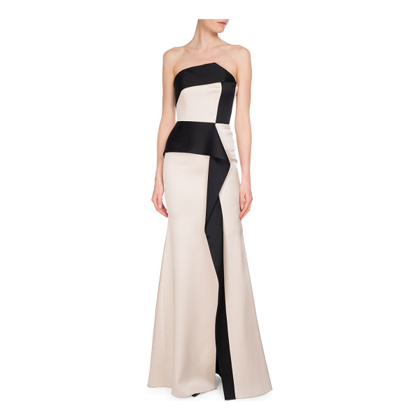 """ROLAND MOURET Addover Strapless Two-Tone Peplum Evening Gown - Roland Mouret """"Addover"""" evening gown in double-face silk..."""