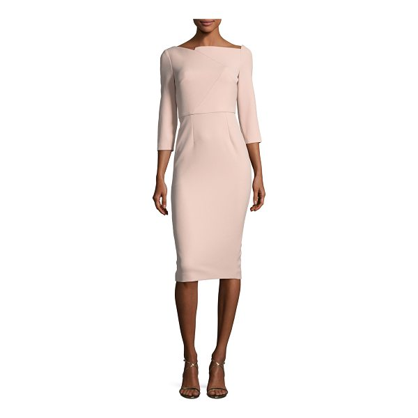 ROLAND MOURET Boat-Neck 3/4-Sleeve Sheath Dress - Roland Mouret dress with zigzag seaming. Asymmetric, boat...