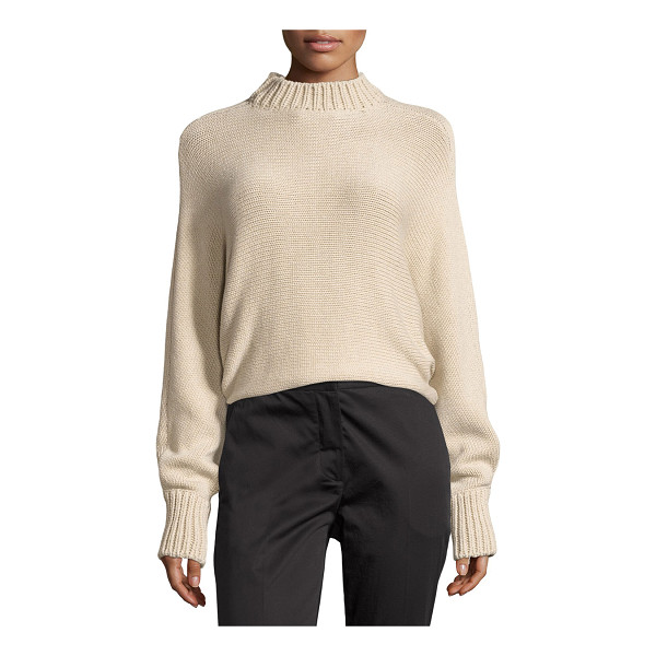 ROSETTA GETTY Cropped Mock-Neck Oversized Sweater - Rosetta Getty sweater with ribbed collar and cuffs. Mock...