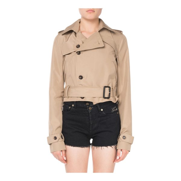 SAINT LAURENT Button-Front Belted Cropped Silk Trench Coat - Saint Laurent silk trench jacket. Spread collar; hook...